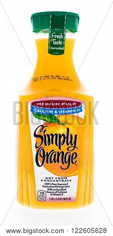 Winneconne WI - 21 February 2015: Bottle of Simply Orange juice with medium pulp.