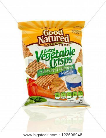 Winneconne WI - 17 Feb 2016: Bag of Good Natured Selects baked vegetable chips in ranch flavor.