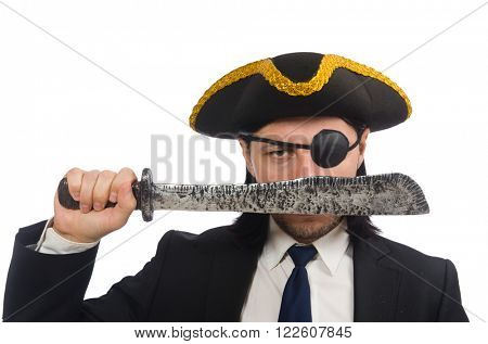 Pirate businessman with sabre isolated on white