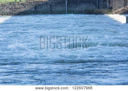 Flooded ship lock during heavy rain in Essen Kettwig in Germany.