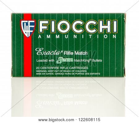 Winneconne WI - 10 Jan 2016: Box of Fiocchi 223 full metal jacket rounds.