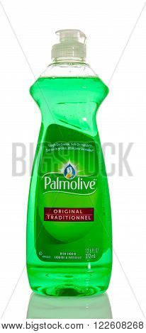 Winneconne WI - 7 Feb 2016: Bottle of Pamolive dish soap.