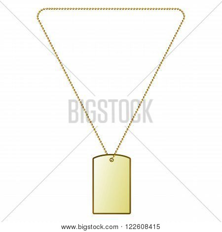 Vector illustration of golden tiles on the chain. Decoration, gold pendant.
