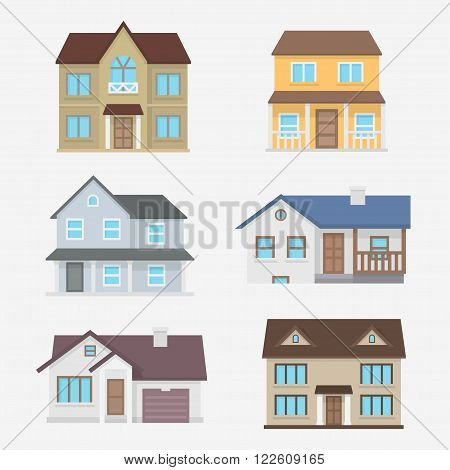 House vector illustration. Home exterior set. House icon in flat style. House modern and traditional. Residential house collection. House isolated the background. Home design.