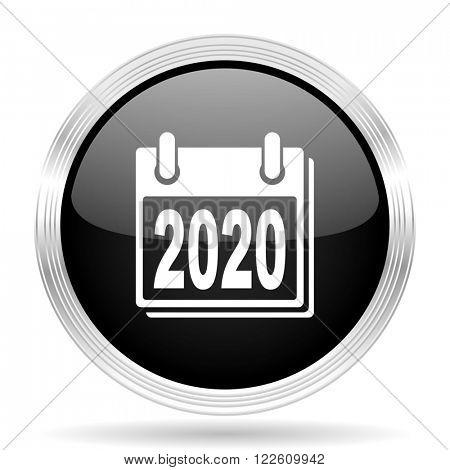 new year 2020 black metallic modern web design glossy circle icon