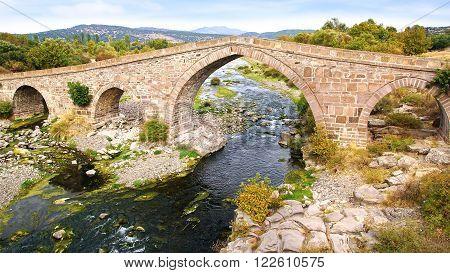 Ruins of ancient bridge in Assos in Turkey.