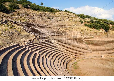 Ruins of ancient theater in Assos in Turkey.