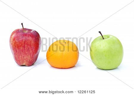red apple,orange and green apple