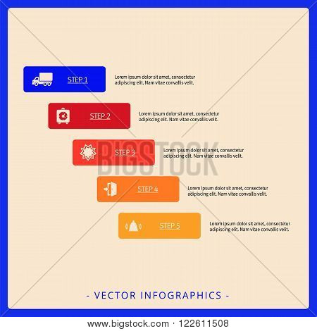 Editable infographic template of diagram consisting of five block with icons, titles and sample text