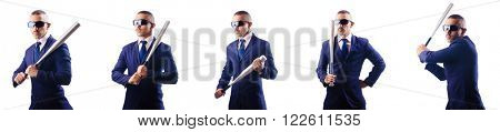 Handsome businessman with bat on white
