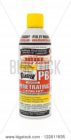 Winneconne WI - 15 May 2015: Can of PB Blaster used to help loosen rusted bolts.