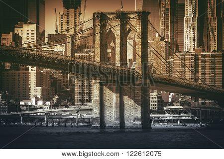 Brooklyn To Manhattan Historic Brooklyn Bridge. New York City