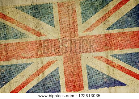 Grunge Concrete Wall United Kingdom Flag Background Illustration. British Flag Backdrop.