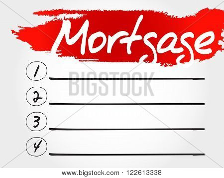 Mortgage blank list business concept, presentation background