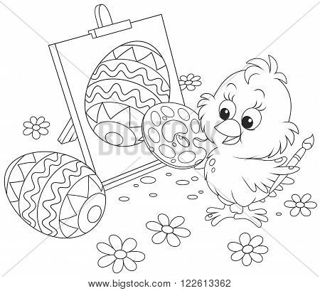 little chicken drawing a decorated Easter egg on his canvas