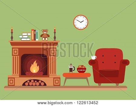 Room interior fareplace design with  chair books, table, clock in evening  tea time, fireplace. Flat style vector fireplace illustration of cozy room interior for your design, banners.
