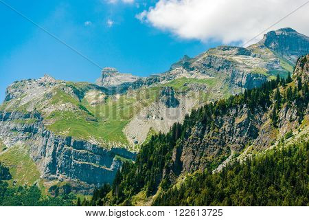 Mountain Landscape Scenery. Beautiful Summer Day in French Alps.