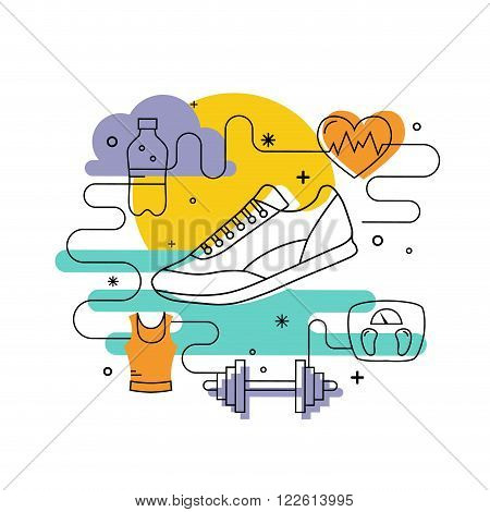 Fitness concept of training and healthcare in mono line style. Illustration with sport icons and design elements. Vector fitness card for banners, posters, advertisement.