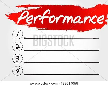PERFORMANCE blank list fitness sport health concept