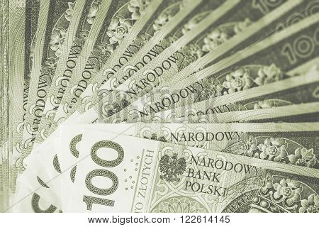 Polish Zloty Cash Background Financial Concept. Polish Currency