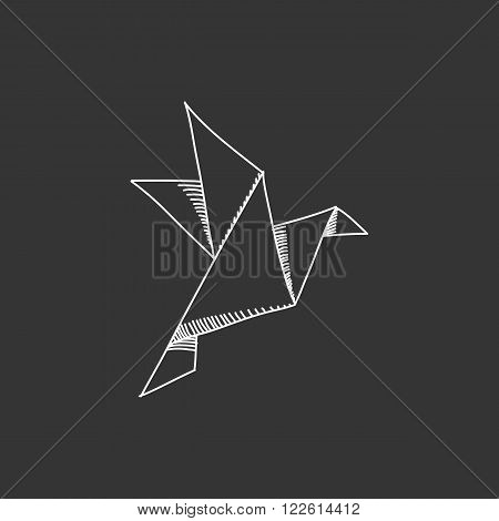 Engraving illustration of origami crane isolated on black background