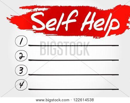 Self Help blank list health concept, presentation background