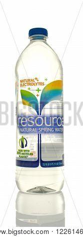 Winneconne WI - 5 March 2016: A bottle of Resource drinking water.