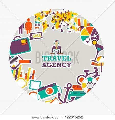Round emblem of travel agency. Traveling everywhere and anytime.
