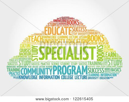 SPECIALIST word cloud education business concept, presentation background