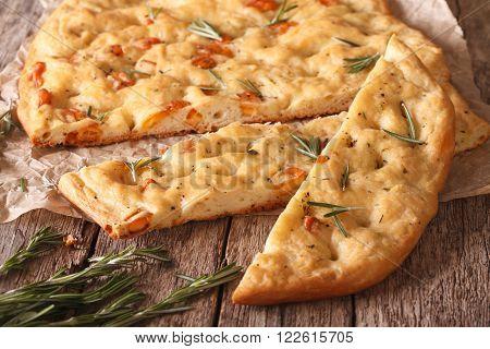 Traditional Italian Focaccia With Rosemary Close Up. Horizontal