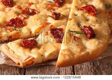 Sliced Italian Focaccia With Dried Tomatoes. Macro Horizontal