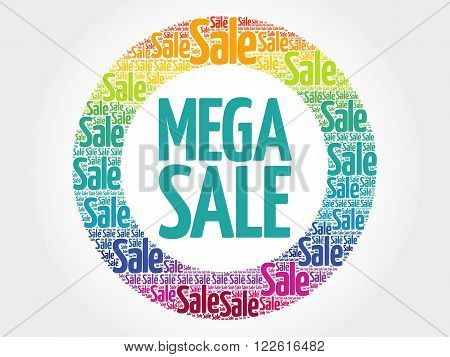 Mega Sale Stamp Words Cloud
