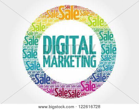 Digital Marketing Stamp Words Cloud