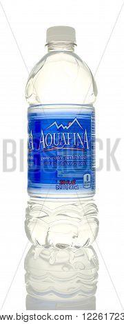 Winneconne WI - 5 March 2016: A bottle of Aquafina drinking water.