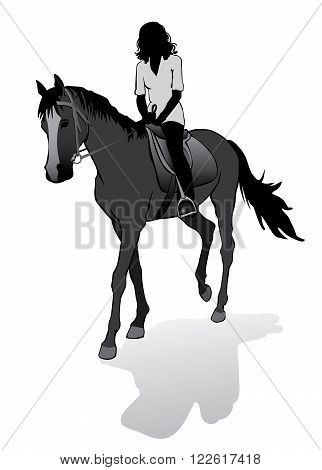 Girl riding a horse. Horse riding walk. Silhouette on a white background.