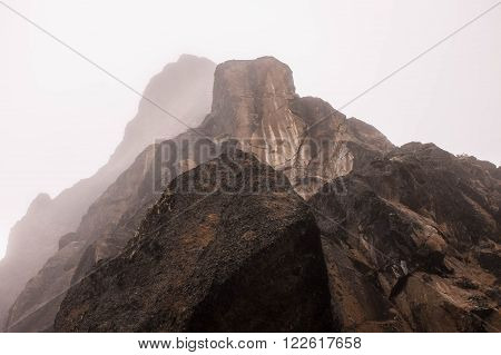 Lava tower layers view with fog, Kilimanjaro