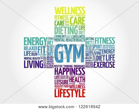 Gym word cloud health cross concept, presentation background