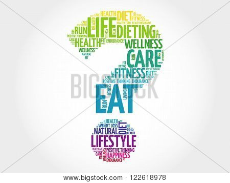 Question mark word cloud fitness sport health concept