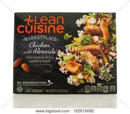 Winneconne WI - 2 March 2016: A box of Lean Cuisine chicken with almonds