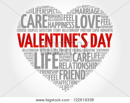 Valentine's Day concept heart word cloud, presentation background