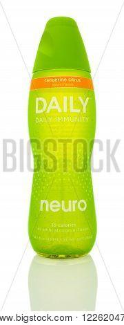 Winneconne WI - 14 Jan 2016: Bottle of Neuro daily immunity in tanderine citrus flavor.