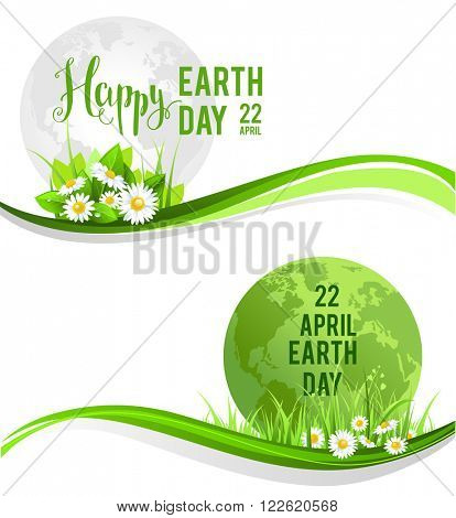 Happy earth day banners for design banner,ticket, leaflet and so on.Template page for Earth day. Holiday card. Green globe and flowers and grass.