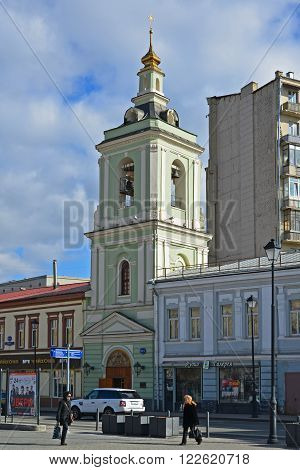 Moscow, Russia - March 14, 2016. Belfry of Temple of the Beheading of John the Baptist