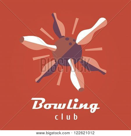 Bowling logo vector template. Ball and pins image