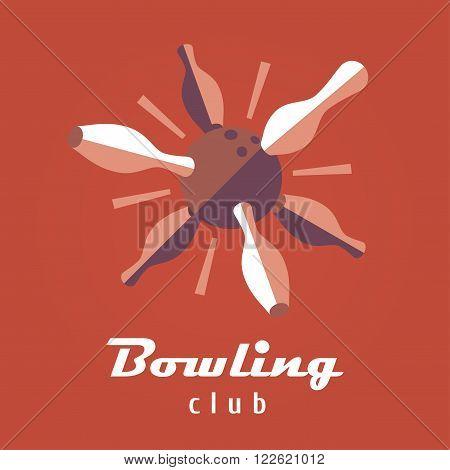 Bowling logo vector template. Ball and pins image