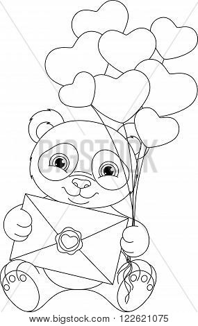 Image cute panda with letter, coloring page