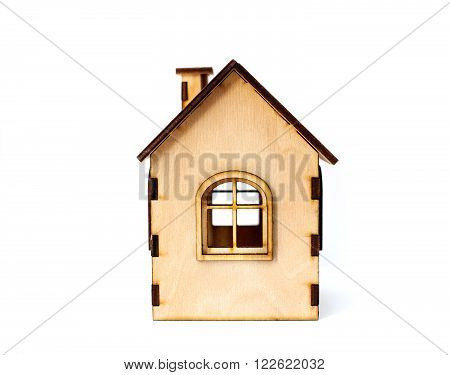 toy wooden house isolated on white background. Concept