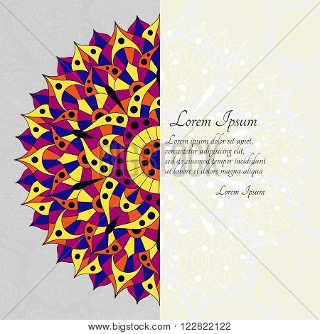 Pattern with chakra manipura and text place. Oriental ornaments for banners, cards and or for your design. Buddhism decorative elements. Yellow, orange and blue colors. Vector illustration.