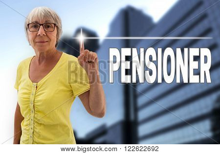 Pensioner touchscreen is shown by senior background.