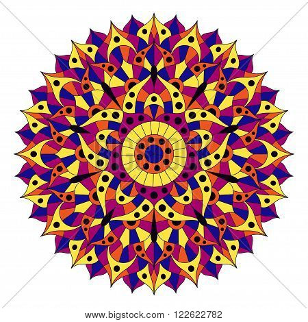 Pattern with chakra manipura. Oriental ornaments for banners, cards and or for your design. Buddhism decorative elements. Yellow, orange and blue colors. Vector illustration.